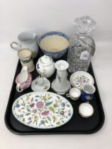 A tray containing crystal decanter, Aynsley lidded jar, Minton Haddon Hall trinket dish,