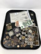 A copy of a Bank of England £50 note dated 1936, together with antique and later coins,