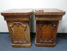 A pair of Victorian mahogany sideboard pedestals
