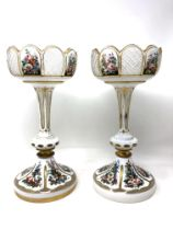 A good quality pair of Victorian hand painted gilded glass vases, height 32.5 cm.