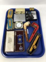 A tray of collectables to includes antique silver mounted pipe, silver plated pocket watch,