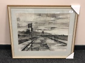 """Alfred """"Alf"""" Ainslie O'Brien (1912 - 1988) : The Beacon at South Shields, charcoal, signed,"""