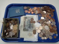 A tray of pre decimal and decimal British coins - Victorian pennies, foreign coins, bank notes,