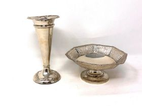 A loaded silver vase, Birmingham marks, together with an octagonal silver pedestal dish.