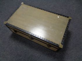 A 20th century metal bound trunk by Watajoy of London.