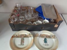 A box containing vintage kitchen scales, assorted drinking glasses,