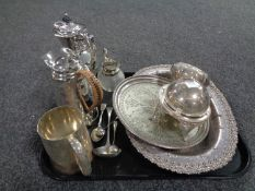 A tray containing plated wares to include coffee pots, tankard, serving trays etc.