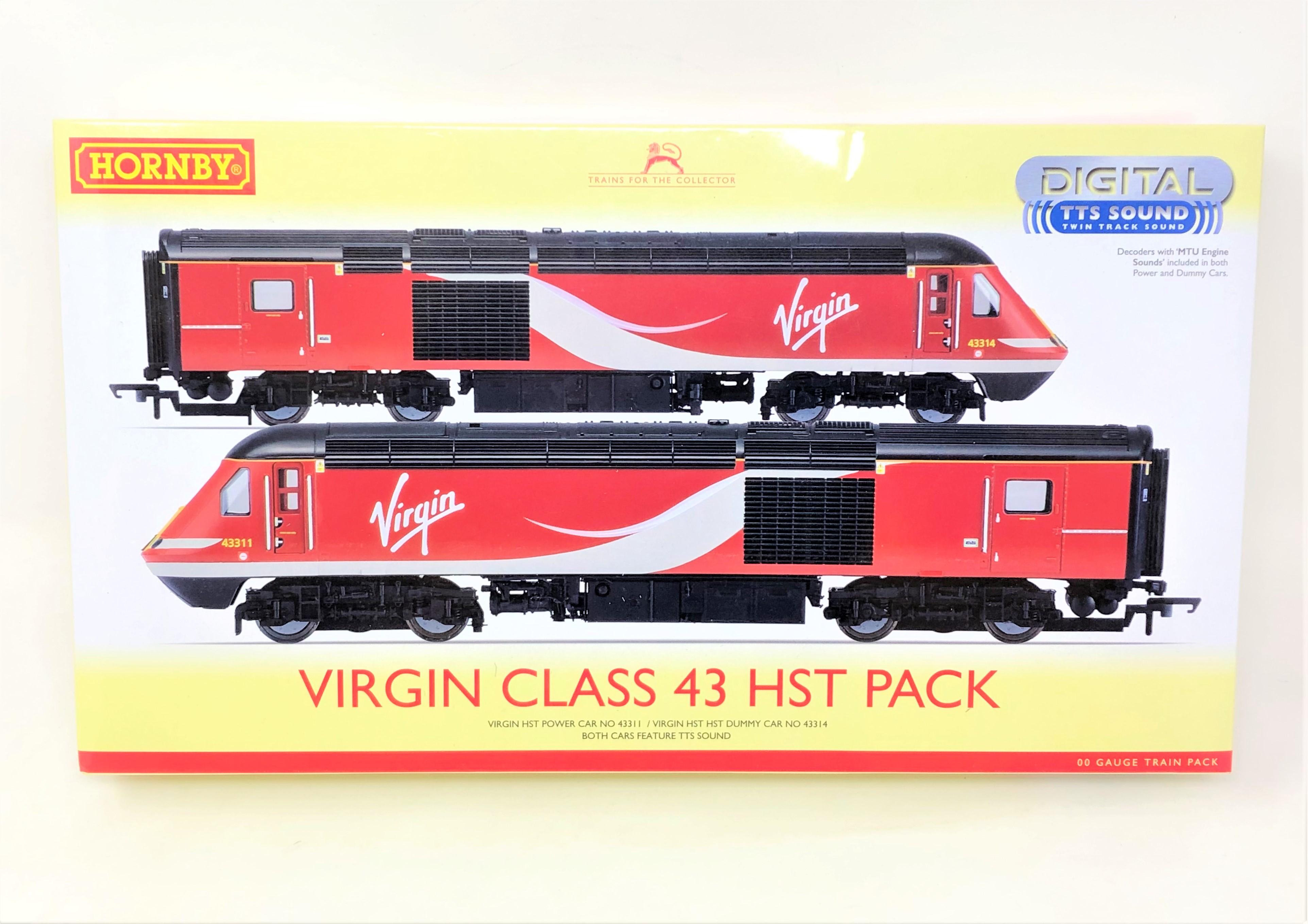 Hornby : R3390 TTS Virgin HST Power Car NO43311, Virgin HST Dummy Car NO43314, boxed.