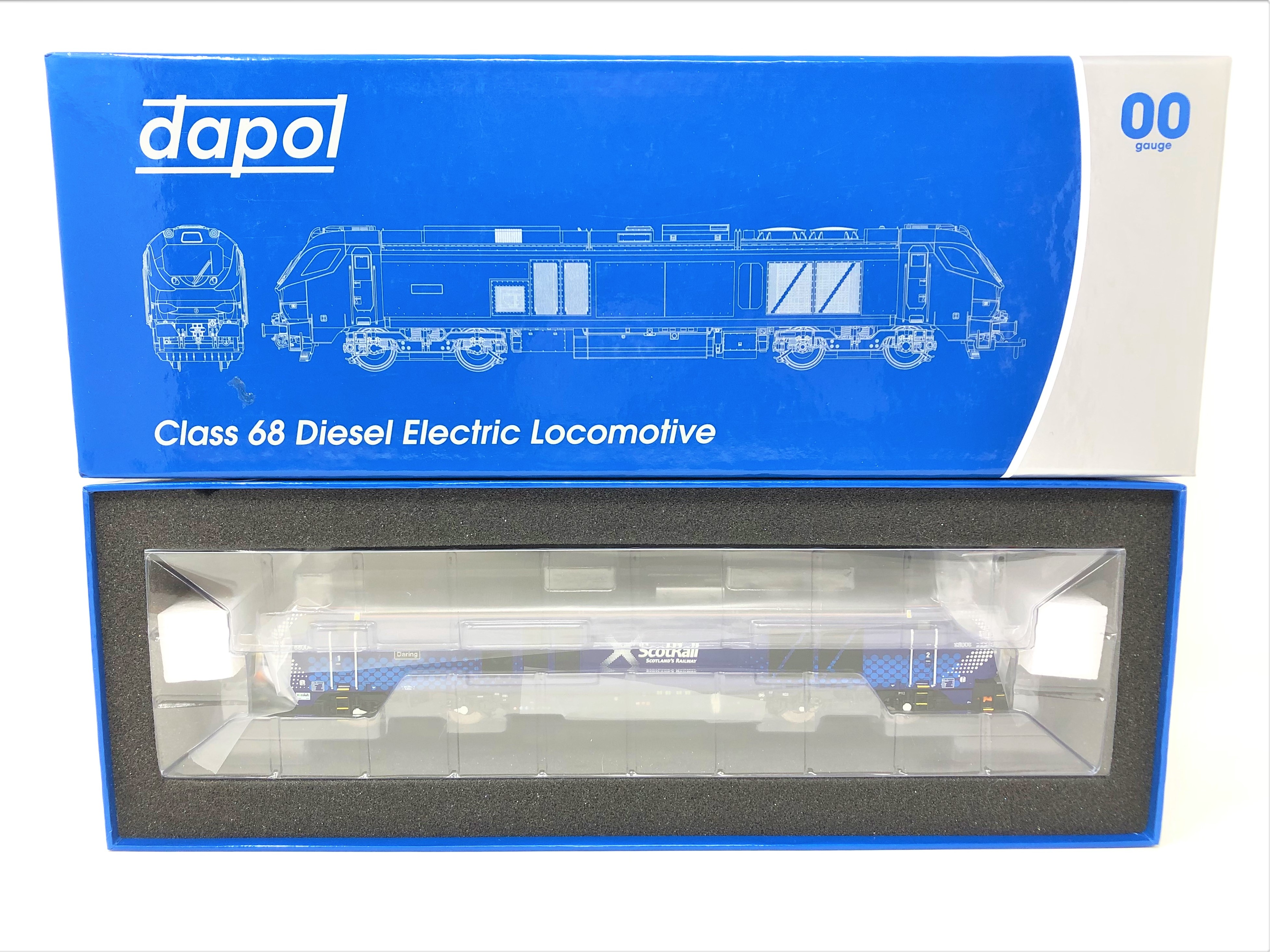 Dapol : Class 68 Diesel Electric Locomotive 68006 'Daring' Scotrail Livery, boxed.
