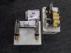 A tray of pair of boxed Cooke & Lewis Blyth basin taps together with a boxed bath filler and a