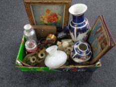 A box containing miscellaneous to include a Stones best bitter battery operated clock,
