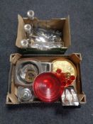 Two boxes of assorted metal ware, cutlery,