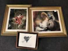 A pair of Sydney Wilson mezzotints in gilt frames and a print of Coeur a la Fourchette after Rene