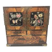 A Japanese Meiji period parquetry table cabinet with mother of pearl inlay,