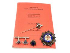A silver Masonic medal, agate pin,