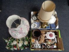 Two boxes of miscellania to include brass oil lamp, West German vase, Armani figurines,