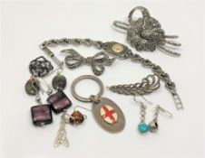 A collection of silver marcasite and other jewellery (Qty)