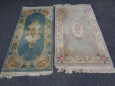 Two fringed Chinese rugs