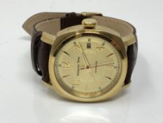 A Gentleman's Moscow time wrist watch on brown leather strap