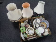 Three boxes of assorted glass ware, English tea and dinner china, chalk figure of a horse,