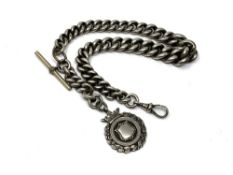 An antique heavy silver Albert chain, 116g.
