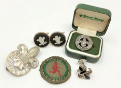 A small quantity of Boy Scout related items including silver badge,
