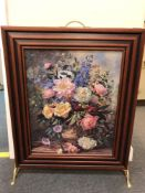 A reproduction fire screen with decorative still life panel