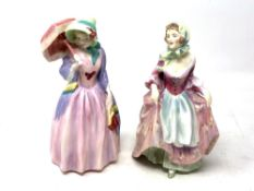 Two Royal Doulton figurines Miss Demure HN1402 and Suzette HN2026.