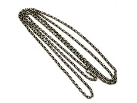 A very long belcher-link chain, stamped Sterling, length 160cm.