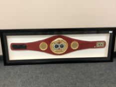 A sporting memorabilia montage : A replica IBF World Champion boxing belt signed by Gennady