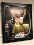 A sporting memorabilia montage : A signed gold VIP boxing glove, Billy Joe Saunders,