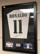 A sporting memorabilia montage : Ronaldo, facsimile signed ,