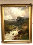 John Falconar Slater (1857 - 1937) : A River Landscape with Cottage and Mountains Beyond,