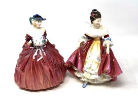 Two Royal Doulton figurines Southern Belle HN2229 and Genevieve HN1962 (2)