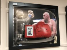 A sporting memorabilia montage : A signed red Everlast boxing glove, Tyson Fury ,