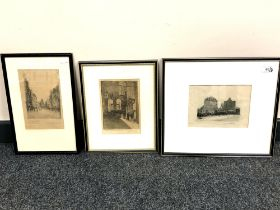 Twentieth Century School : The Keep, Newcastle-upon-Tyne, drypoint etching,
