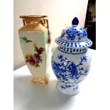 A blue and white oriental style lidded vase together with an antique English transfer patterned