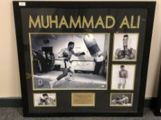 A sporting memorabilia montage : Muhammad Ali 'The Greatest', signed print in black ink,