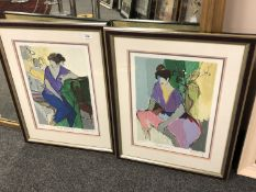 After Isaac Tarkay : Purple Ladies I and Purple Ladies II, pair of colour prints, limited edition,