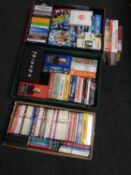 A box and two crates containing assorted DVDs and DVD box sets