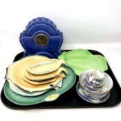 A tray of ceramic to include Art Deco mantel clock, Carlton Ware Art Deco dish,