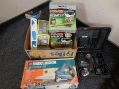 A box containing Black & Decker Scorpion saw, Draper grease gun, power sprayer,