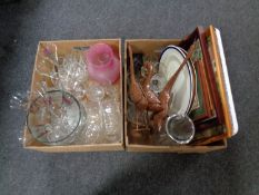 Two boxes containing assorted glassware, metal duck ornaments,