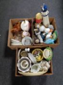 Three boxes containing miscellaneous to include planters, animal ornaments, hen egg dishes,