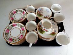 A tray of part Duchess bone china tea service depicting a hunting scene together with sixteen