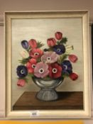 M Dickson : Still life with poppies, oil on board,
