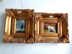 Two miniature oils on board depicting a dog and bird,