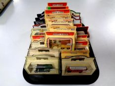 A tray containing approximately 25 die cast vehicles to include Days Gone, Models of yesteryear,