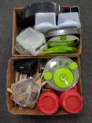 Two boxes containing kitchenalia to include utensils, plastic storage boxes, Pyrex dishes,