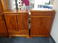 A Bradley Furniture reproduction yew wood television and audio cabinet (2)